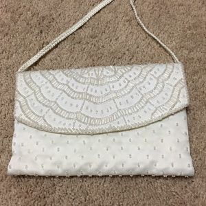 Handbags - NWOT white satin hand beaded evening bag